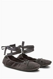Suede Ballerina Slippers