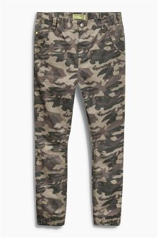 Khaki Camo Skinny Drop Crotch Trousers (3-16yrs)