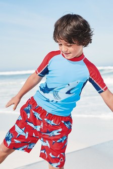 Shark Print Rash Vest (3-16yrs)