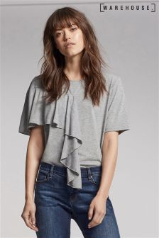 Warehouse Grey Asymmetric Ruffle Top