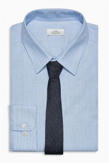 Cotton Fine Stripe Slim Fit Shirt With Tie