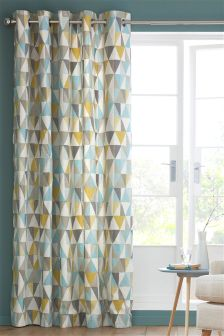 Textured Geo Print Eyelet Curtains