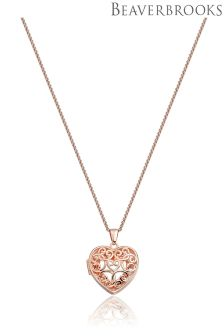 Beaverbrooks Rose Gold Plated Heart Locket Pendant