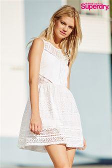 White Superdry Embroidered Skater Dress