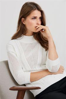 Pointelle Funnel Neck Sweater