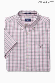 Gant Pink Oxford Check Short Sleeved Shirt