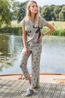 Jersey Moose Print Pyjamas