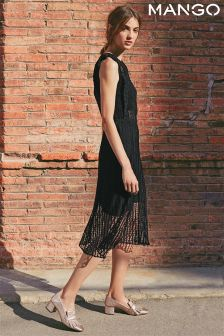 Mango Black Sheer Lace Midi Dress