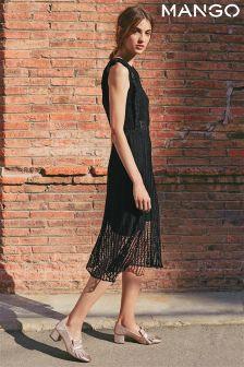 Mango Black Sheer Lace Midi Dress