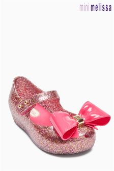 Mini Melissa Pink Glitter Double Bow Shoe