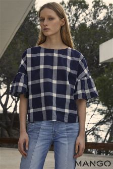 Mango Blue Check Bell Sleeve Top