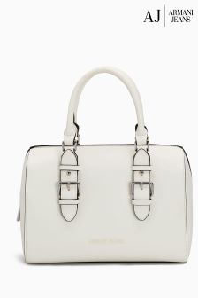 Armani Jeans White Gommata Rubberised PU Boston Bag