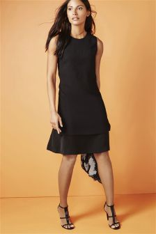 Layered Hem Crepe Dress