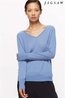 Jigsaw River Blue Wafer Cashmere V Neck Knit