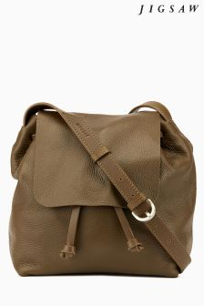 Jigsaw Tan Leather Backpack