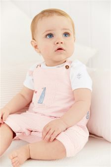 Pink Embellished Dungarees With Bodysuit (0mths-2yrs)