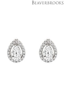 Beaverbrooks Silver Cubic Zirconia Pear Stud Earrings