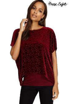 Phase Eight Deep Red Selma Spot Velvet Burnout Top