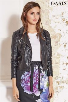 Oasis Black Pleated Leather Biker