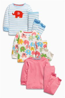 Elephant Snuggle Pyjamas Three Pack (9mths-8yrs)