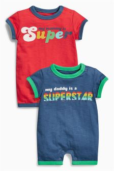 Mum And Dad Rompers Two Pack (0mths-2yrs)