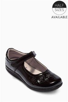 Black Patent Flower Shoes (Older Girls)