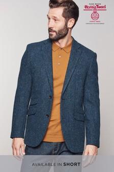 Harris Tweed Blue Herringbone Tailored Fit Wool Jacket