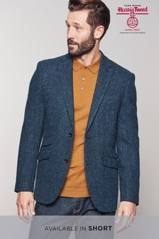 Harris Tweed Blue Herringbone Tailored Fit Wool Jacket