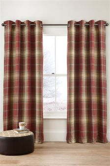 Woven Stirling Check Eyelet Curtains