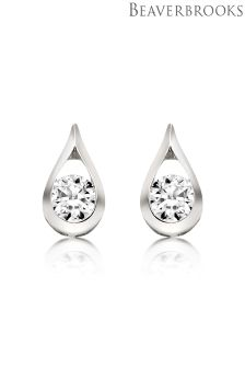 Beaverbrooks 9ct White Gold Cubic Zirconia Stud Earrings