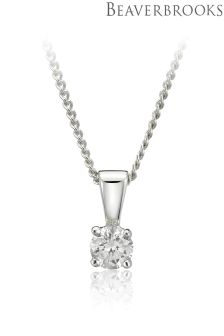 Beaverbrooks 18ct White Gold Diamond Pendant