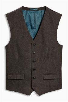 Brown Donegal Tailored Fit Suit: Waistcoat