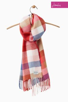 Joules Red Gingham Soft Handle Bracken Scarf