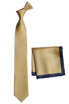 Signature Printed Tie And Pocket Square