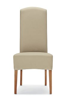 faux leather dark natural set of 2 sienna dining chairs