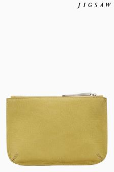 Jigsaw Yellow Alba Medium Leather Pouch