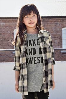 Black Check Longline Shirt Dress (3-16yrs)