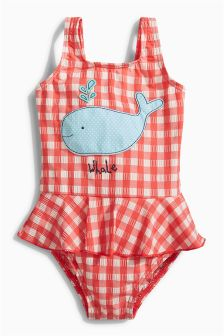 Skirted Whale Applique Swimsuit (3mths-6yrs)