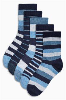 Blue Stripe Socks Five Pack (Older Boys)