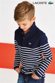 Navy Lacoste® StrIpe Long Sleeved Polo