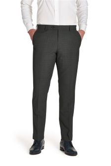 Charcoal Grey Textured Slim Fit Suit: Trousers