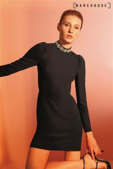 Warehouse Black Embellished Neck Dress