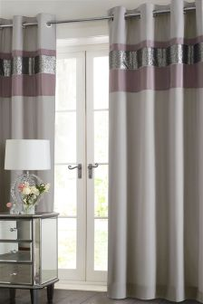 Sequin Panel Eyelet Curtains