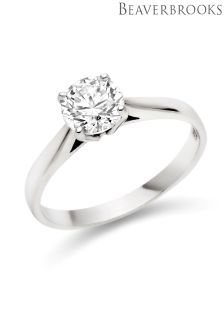 Beaverbrooks 9ct White Gold Cubic Zirconia Solitaire Ring