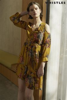 Whistles Yellow Fleur De Lis Print Cold Shoulder Dress