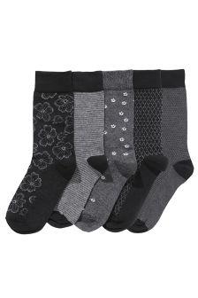 Grey Flower Socks Five Pack