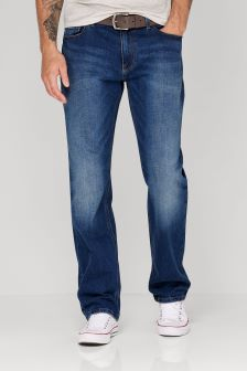 Mid Blue Belted Jeans With Stretch