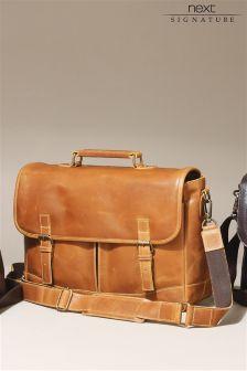 Tan Signature Leather Satchel