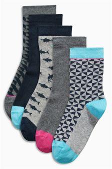 Monochrome Geo Socks Five Pack (Older Boys)