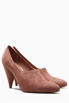 Suede Leather Cone Heel Courts